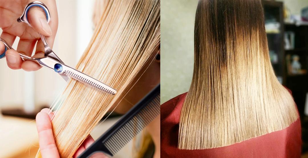 Шлифовка волос ножницами от мастера Натальи