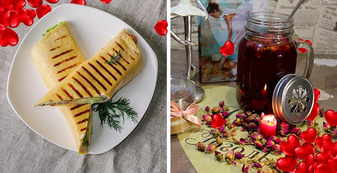 Комбо (теплый ролл с курицей+чай с розмарином и черной смородиной) в кофейне «Гоголь»